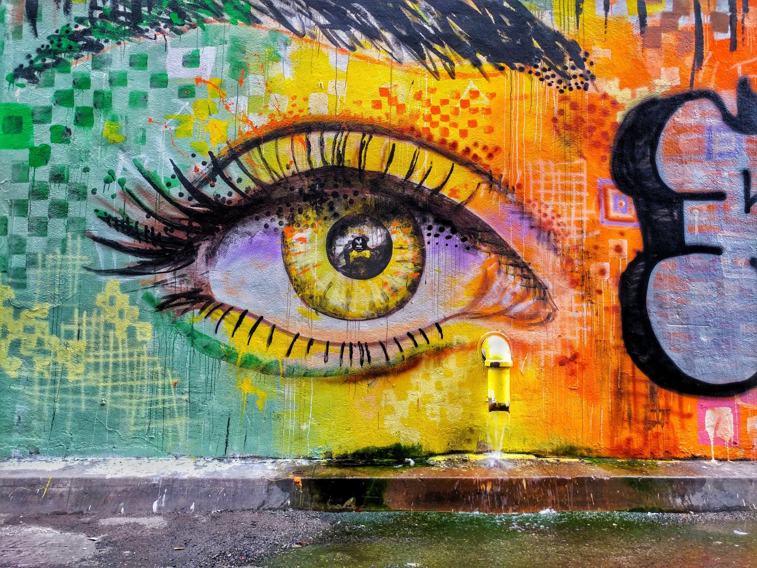 brightly colored graffiti eye